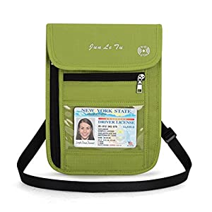Travel Neck Wallet Travel Pouch & Passport Holder Phone Pouch Document Organizer(Green)