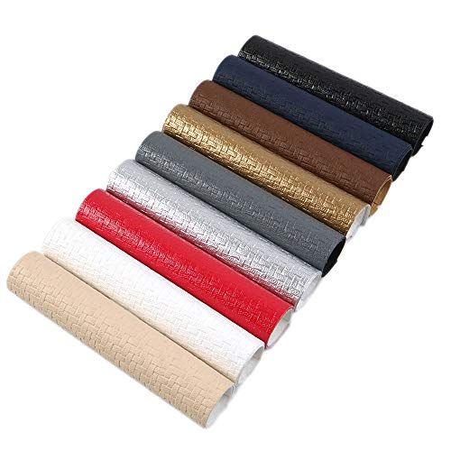 (David Angie Weave Embossed Textured Faux Leather Fabric Sheet 9 Pcs 8