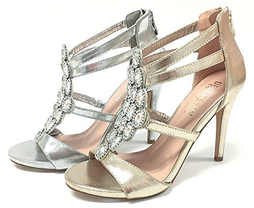 De Collezione Fiore Donna Macy Cristallo Impreziosito Tacco Alto Sandalo Argento