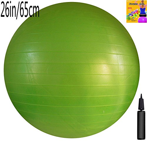 AppleRound Fitness Ball: Green, 26in/65cm Diameter, Includes 1 Ball +1 Pump + 1 Page Instruction Chart. No instructional DVD. (Exercise Gym Swiss Stability Ball)