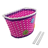 Wick Bicycle Bike Basket with Flowers, for Chirlden Kid's Bicycle, Various Colors & Sizes