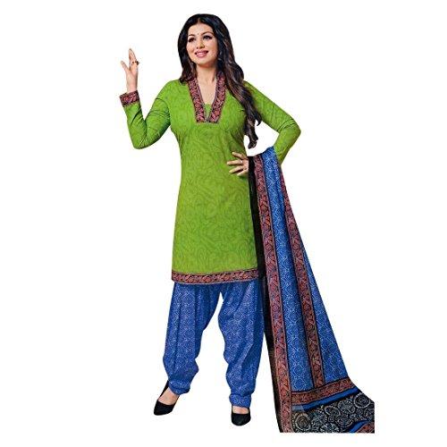 Designer Printed Cotton Salwar Kameez Ready Made Suit Indian Dress – 0X Plus, Green