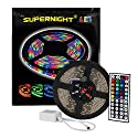 SUPERNIGHT (TM) 16.4FT SMD 5050 Waterproof 300LEDs RGB Flexible LED Strip Light Lamp Kit + 44Key IR Remote Controller(Power supply is not included)