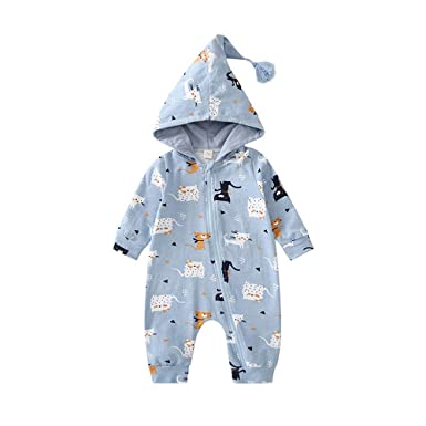 0f63e4a025e Mealeaf ❤ Infant Toddler Baby Girls Boys Cartoon Zipper Caps Romper Jumpsuit  6