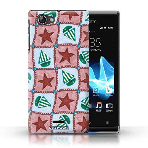 Etui / Coque pour Sony Xperia J (ST26i) / Rouge/Vert conception / Collection de Bateaux étoiles