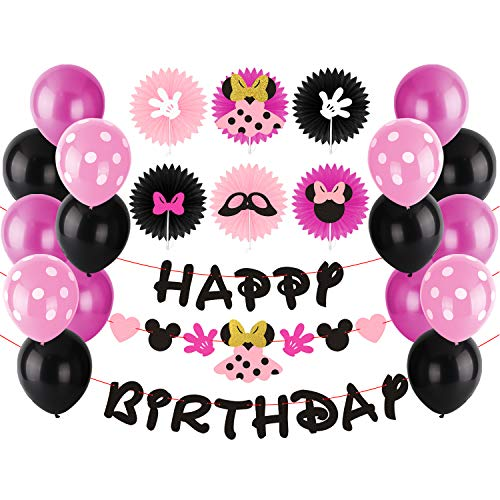 BeYumi Minnie Party Decoration Kit - Minnie Creatures Paper Fans, Happy Birthday Banner and Garland, Colorful Balloons with Patterns, Themed Party Ideas for Kids Birthday for $<!--$12.99-->