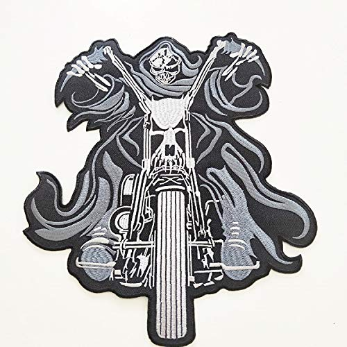 Large Size Speed Riding Biker Chopper Rocker Ghost Embroidered Jacket Back Patch Motorcycle Club Series Vests Skull Hog Jumbo Iron Or Sew-on Emblem Badge Appliques Fabric Patches