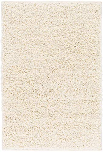 Solid Retro Modern Ivory Off-White Shag 2×3 2 x 3 Area Rug Plain Plush Easy Care Thick Soft Plush Living Room Kids Bedroom