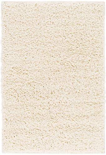 Solid Retro Modern Ivory Off-White Shag 2x3 2 x 3 Area Rug Plain Plush Easy Care Thick Soft Plush Living Room Kids Bedroom