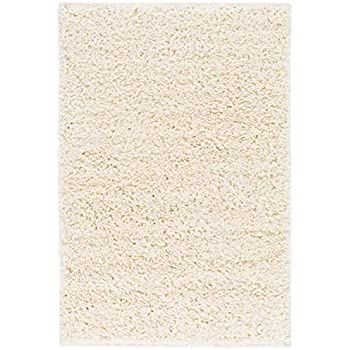 Amazon Com Solid Retro Modern Ivory Off White Shag 2x3