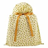 Wedding Rings Reusable Fabric Gift Bag (Ivory, Large 20 Inches Wide by 27 Inches High)