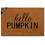 "MsMr Funny Doormat Entrance Floor Mat Indoor Outdoor Decorative Doormat Bathroom Mat with Hello Pumpkin Design 23.6""x15.7"""