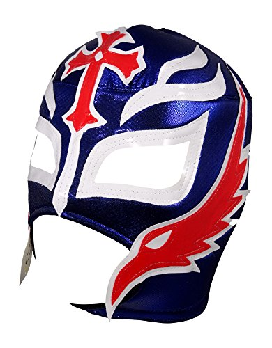ucha Libre Wrestling Mask (pro-fit) Costume Wear - Blue/White/Red (Rey Mysterio Wrestling Mask)