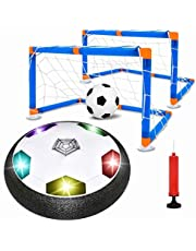 Kids Toys Hover Soccer Ball Set with 2 Goals, Hover Ball Floating Hover Football Toys Kit, Air Soccer Set with LED Light and an Inflatable Ball Included for Indoor & Outdoor Games for Girls and Boys