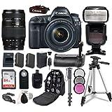 Canon EOS 5D Mark IV Digital SLR Camera Bundle with EF 24-105mm f/4L IS II USM Lens + Tamron Zoom AF 70-300mm f/4-5.6 Lens + Professional Accessory Bundle (14 items)