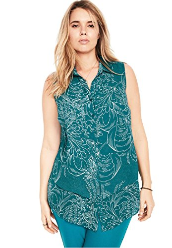 Roamans Plus Size Felicity Printed Tank (Tropical Teal Print,12 ()