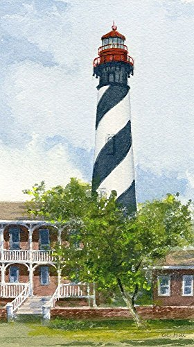 St. Augustine Lighthouse Florida Matted Watercolor Art Prints - Lighthouse Watercolor