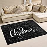 Area Rugs Doormats Merry Christmas Black White Soft Carpet Mat 6'x4' (72x48 Inches) Living Dining Dorm Room Bedroom Home Decorative