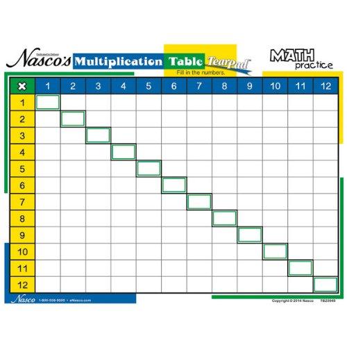 NASCO TB25949 Math Practice Table TearPad - Multiplicatio...