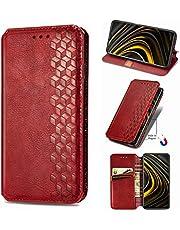 NEINEI Fodral för OnePlus 8T,PU/TPU Wallet Flip Skal Mobilskal med Fäste Funktion & Magnetisk,Retro Design ShockProof Mobiltelefon Mode Skydd Case Cover-Röd
