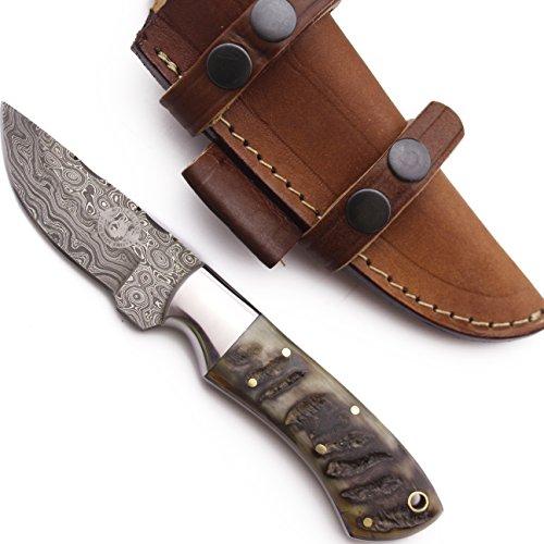 WolfKlinge DCX17-52 Handmade Damascus Steel Hunter, Camel Bone + Micarta Handle, with Cowhide Leather Sheath