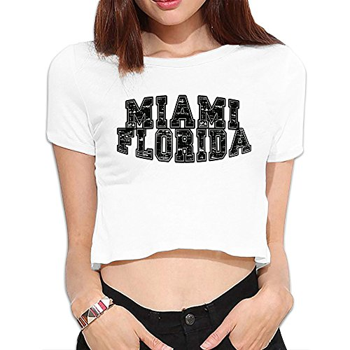 [Women Florida State Miami City Crop Tops] (Miami Vice Outfits)