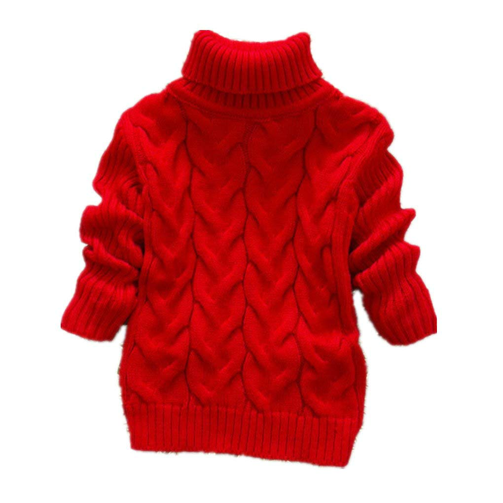 XYSSWW Autumn Winter Kids Warm Sweaters Baby Boys Girls High-Necked Sweater