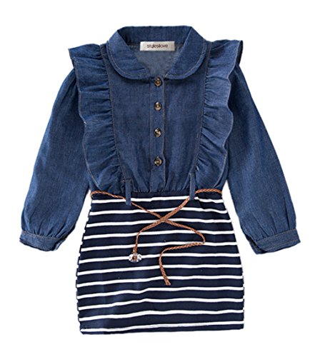 Ruffle Blue Dress Girls (stylesilove Little Girl Toddler Ruffle Denim Striped Mini One-Piece Tunic Dress with Belt - 100/2-3 Years)