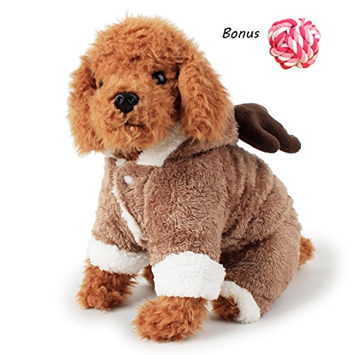 Halloween Dog Clothes Pet Costume Autumn/Winter Fleece Warm Outfit for Puppy and Cat by FanQube (M) - Cute Halloween Comments