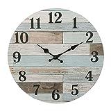Stonebriar - Reloj de pared de madera redondo de 35,56 cm, funciona con pilas, decoración rústica para la pared, para sala de estar, cocina, recámara y patio, Country rústico, azul (Worn blue), 14'', 1, 1