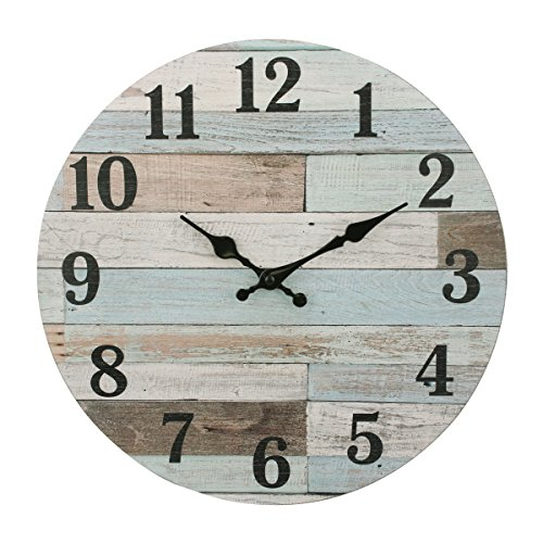 Stonebriar Worn Blue Vintage Coastal 14 Inch Round Hanging Clock, Battery Operated, Rustic Wall Decor for The Living Room, Kitchen, Bedroom, and Patio (Interesting Clocks Sale For)