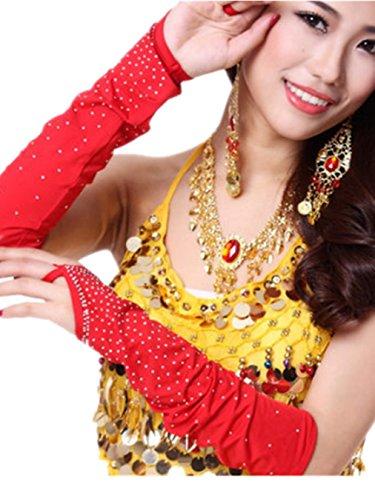 Elasticidad danza del vientre Danza mangas–Tensiómetro de brazo con disfraz de cristal Rosado oscuro