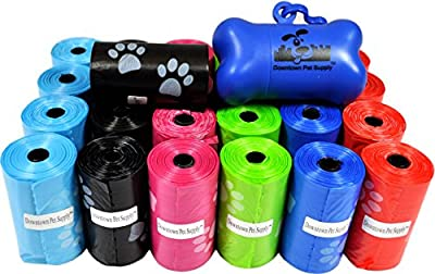 180, 220, 500, 700, 880, 960 or 2200 Pet Waste Bags, Dog Waste Bags, Bulk Poop Bags on a roll, Clean up poop bag refills - (Colors: Green, Blue, Purple, Red, Black, Pink, Rainbow of Colors, or Paw Print Patterns) + FREE Bone Dispenser, by Downtown Pet Sup