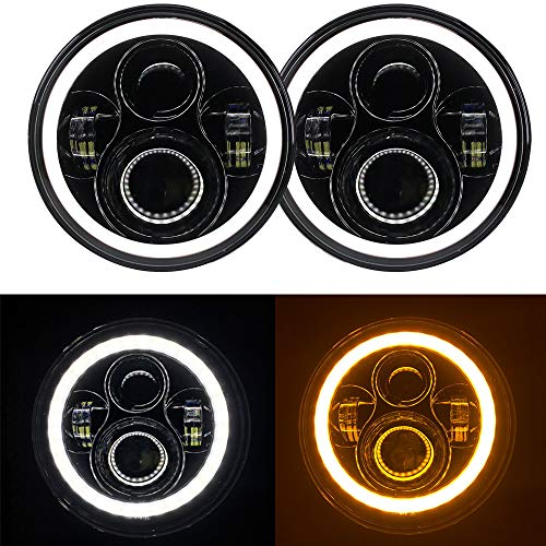 (7'' Round Cree LED Headlight with White DRL Halo Ring Angel Eyes+Amber Turn Signal Light For Jeep Wrangler JK TJ CJ DOT Approved)