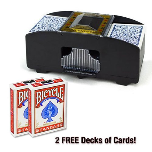 Brybelly Two Deck Card Shuffler with 2 Free Decks of Bicycle Playing (Cycling Card)