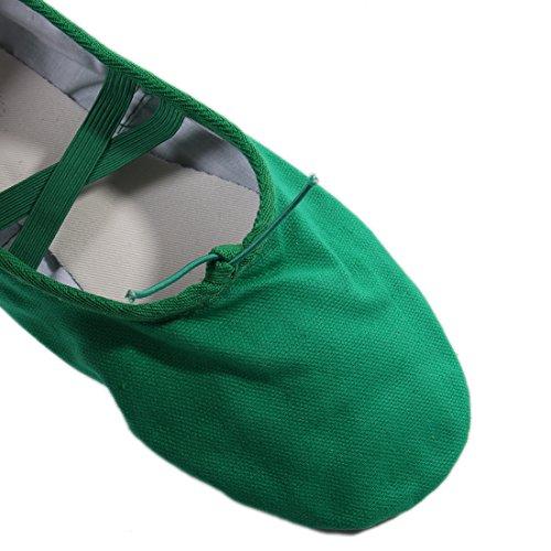 DoGeek Chaussure de Danse Ballerine Femme Chaussure Ballet Homme Chaussures de Pilates Danse Classique Chaussures de Yoga Gymnastique Split Plate Ballet Doux Toile Chaussons Vert 8nI133AJSS