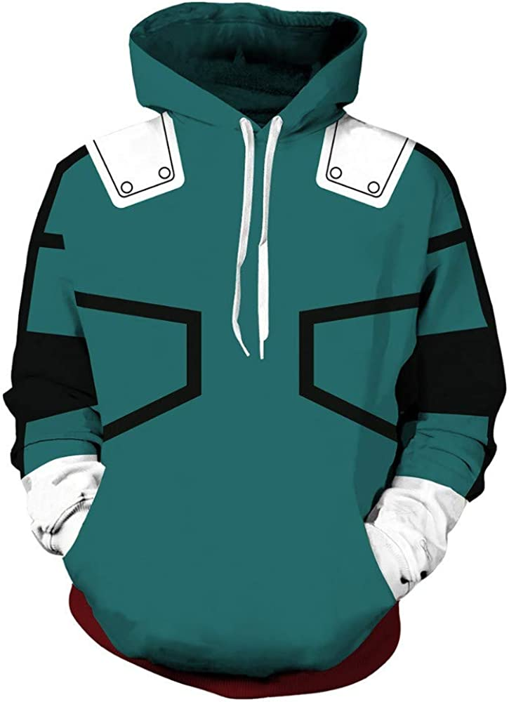 Midoriya Izuku Deku Cosplay Costume One for All Hoodie Pullover Sweatshirt