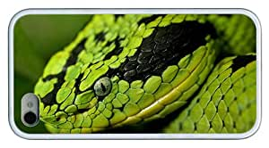 Hipster stylish iPhone 4 covers Green Snake Head TPU White for Apple iPhone 4/4S