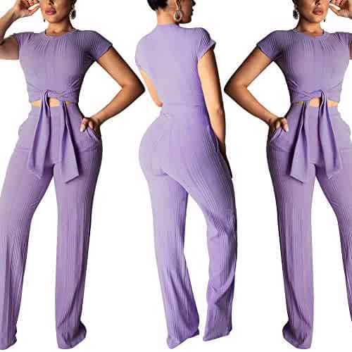 0f3858dd28ac Womens Sexy 2 Piece Outfits - Short Sleeve Solid Ribbed Tie Crop Top and  Pants Jumpsuit
