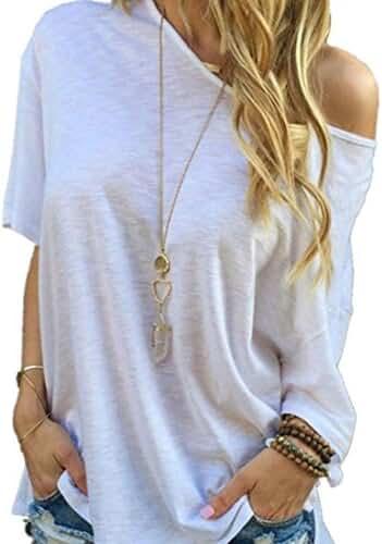 Orangeskycn Women Summer Short Sleeve Blouse Casual Tops T-Shirt (L)