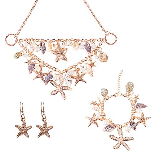 PH PandaHall 3 in 1 Summer Sea Beach Shell Starfish Pearl Bib Statement Chunky Necklace, Bracelets, Shell Earrings for Women(Gold-Plated) (Shell Bracelet Necklace Earrings)