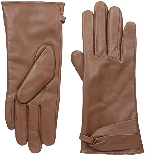 Adrienne Vittadini Women's Leather Gloves with Micropile Lining, Cognac, Medium