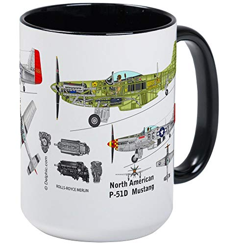 (P-51 Mustang Cutaway Mug - 11oz RINGER Coffee Mug, Ceramic 11oz Coffee)