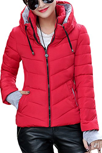 XuyIeY Women's Winter Parka Jacket Warm Stand Collar Cotton Quilted Down Coat Red