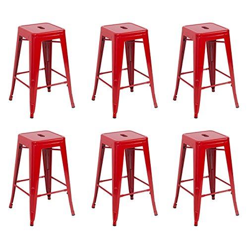 Belleze 6-Piece Metal Bar Stool Industrial Stackable, 26-Inch, Red (Patio Set Red Walmart)