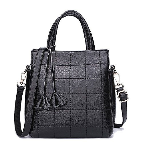 Mn&sue Stylish Women Check Pattern Cowhide Genuine Leather Tassels Multilayers Shoulder Jet Set Tote Bag (black) Hypj-960305bh