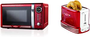 Nostalgia RMO7RR Retro 0.7 cu ft 700-Watt Countertop Microwave Oven, Metallic Red & New and Improved Wide 2-Slice Toaster, 5 Browning Levels, With Crumb Tray & Cord Storage – Retro Red