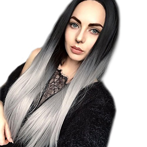 MEIFAN WIG Long Straight Hair Ombre Black Grey Wigs for Black Women Synthetic Hair Heat Resistant Halloween Party Wigs