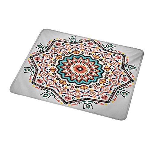 Anti-Slip Gaming Mouse Mat/Pad Tribal,Abstract Aztec Style Kaleidoscope Themed Boho Ethnic Sun Pattern Art Print,Coral Turquoise,Gaming Non-Slip Rubber Large Mousepad 9.8
