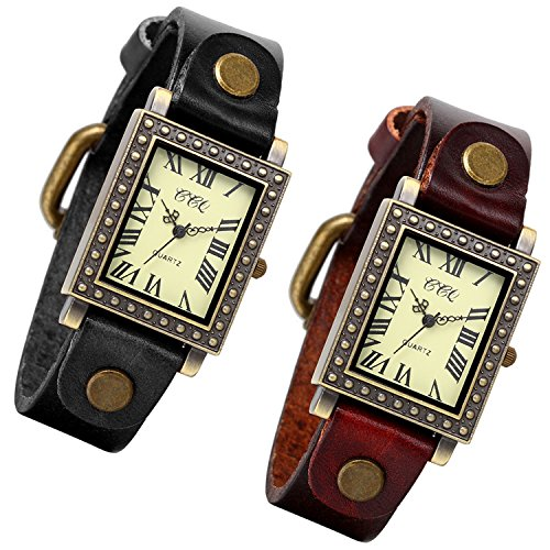 Brass Ladies Watch - Lancardo Ladies Antique Brass Square Face Silm Thin Black/Brown Leather Strap Watch